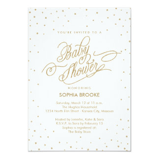 Twinkly Gold Stars Fancy Baby Shower Invitation