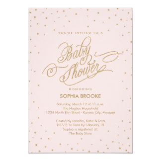 Twinkly Gold Stars Fancy Pink Baby Shower Invite