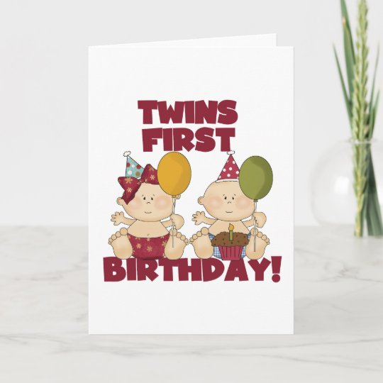 Twins 1st Birthday Boygirl T Shirts And Gifts Card Zazzle