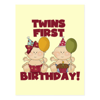 Twins 1st Birthday Boy/Girl T-shirts and Gifts Post Cards