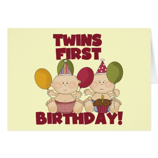 Twins 1st Birthday - Boys T-shirts And Gifts Card