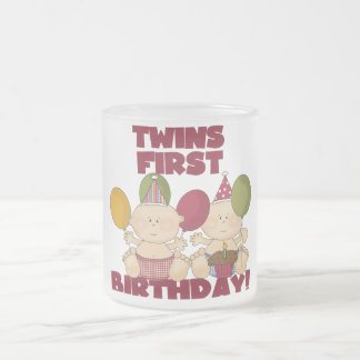 Twins 1st Birthday - Boys T-shirts and Gifts Frosted Glass Coffee Mug