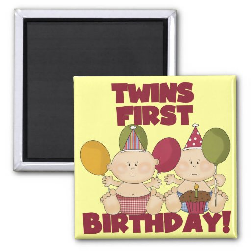 Twins 1st Birthday - Boys T-shirts And Gifts Fridge Magnet