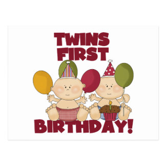 Twins 1st Birthday - Boys T-shirts and Gifts Postcards