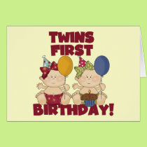 Twins 1st Birthday - Girls Tshirts and Gifts Card