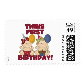 Twins 1st Birthday - Girls Tshirts and Gifts Postage Stamps