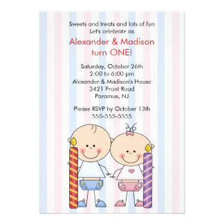 Twins 1st Birthday Invitation Girl & Boy
