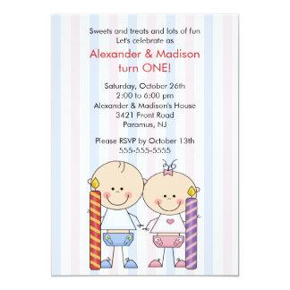"Twins 1st Birthday Invitation Girl & Boy 5"" X 7"" Invitation Card"