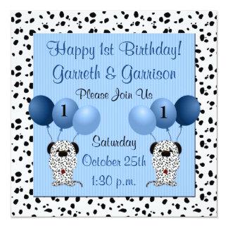 Twins 1st Birthday Party Invitation Blue