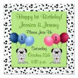 "Twins 1st Birthday Party Invitation Green 5.25"" Square Invitation Card"