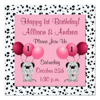 Twins 1st Birthday Party Invitation Pink