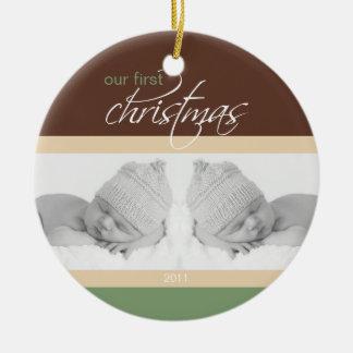 Twins 1st Christmas Custom Ornament (cocoa)