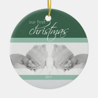 Twins 1st Christmas Custom Ornament (green 2)