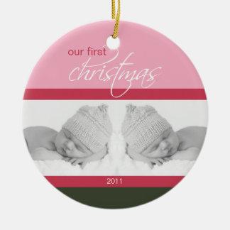 Twins 1st Christmas Custom Ornament (pink)
