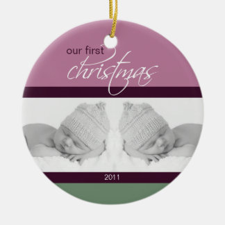 Twins 1st Christmas Custom Ornament (plum)