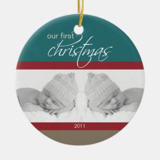 Twins 1st Christmas Custom Ornament (teal)