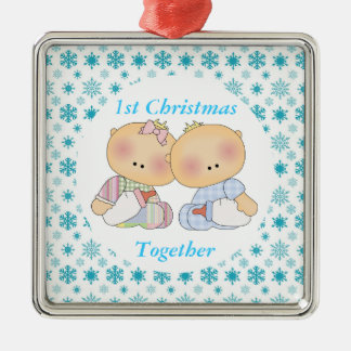 Twins 1st Christmas Together Keepsake Ornament Silver-Colored Square Ornament