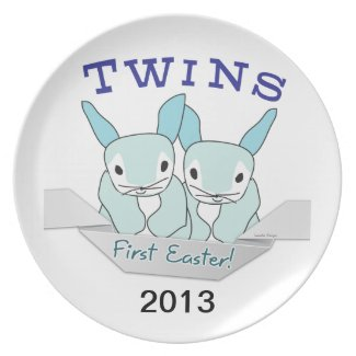 Twins 1st Easter Twin Boys Plate