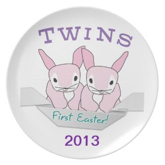 Twins 1st Easter Twin Girls Dinner Plates