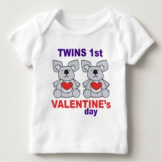 Twins 1st Valentines Day Baby T-Shirt