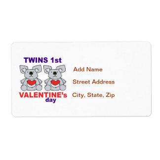 Twins 1st Valentines Day Label