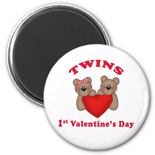 Twins 1st Valentine's Day Magnet