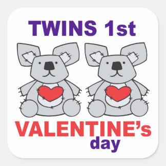 Twins 1st Valentines Day Square Sticker