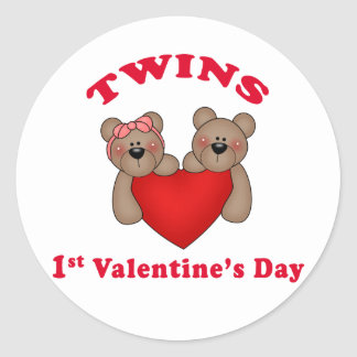 Twins 1st Valentine's Day Stickers