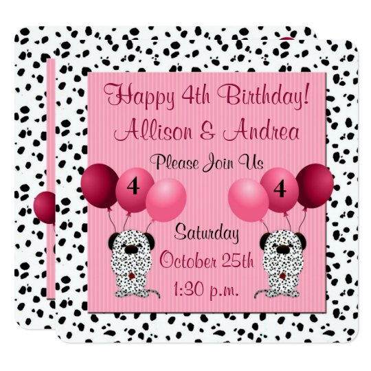 Twins 4th Birthday Party Dalmatians With Pink Invitation