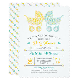 twins are on the way twins baby shower invitation