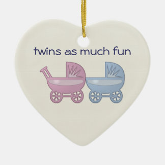 twins as much fun Double-Sided heart ceramic christmas ornament