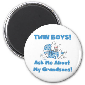 Twins-Ask About My Grandsons Tshirts and Gifts 2 Inch Round Magnet