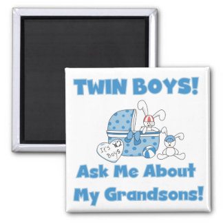 Twins-Ask About My Grandsons Tshirts and Gifts 2 Inch Square Magnet