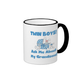 Twins-Ask About My Grandsons Tshirts and Gifts Ringer Coffee Mug