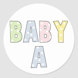 Twins Baby A Pastels Classic Round Sticker