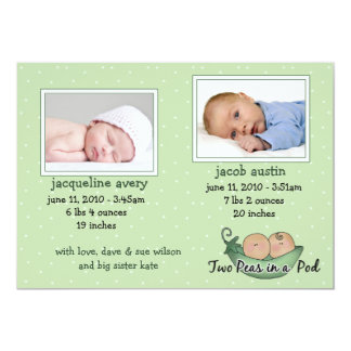 Twins Baby Announcement Cards