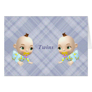 Twins Baby Announcement Greeting Card