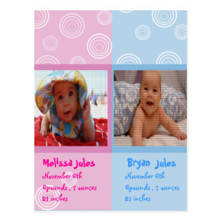 twins baby announcement photocard postcard