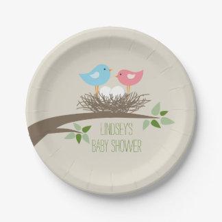 Twins Baby Bird's Nest | Baby Shower Paper Plate