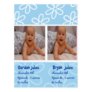 twins baby boys announcement photocard postcard