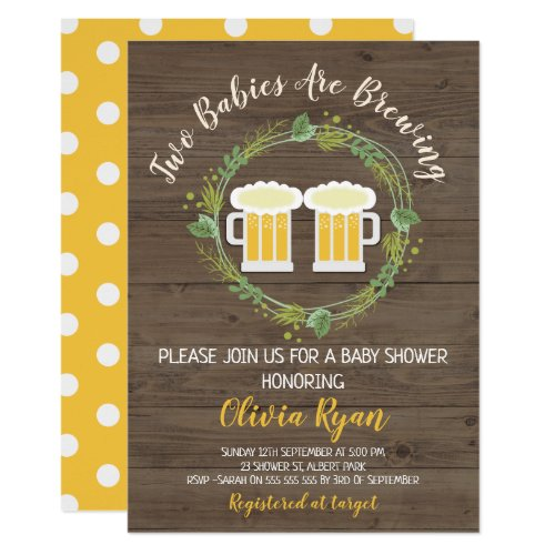Twins Baby Brewing Baby Shower Invitation