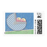 Twins Baby carriage  Baby Shower Stamps