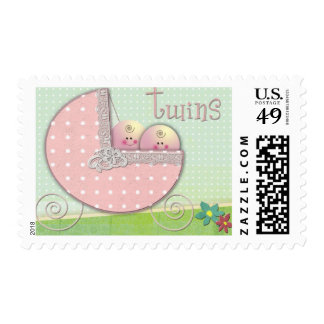 Twins Baby carriage polka dot Baby Shower Stamp