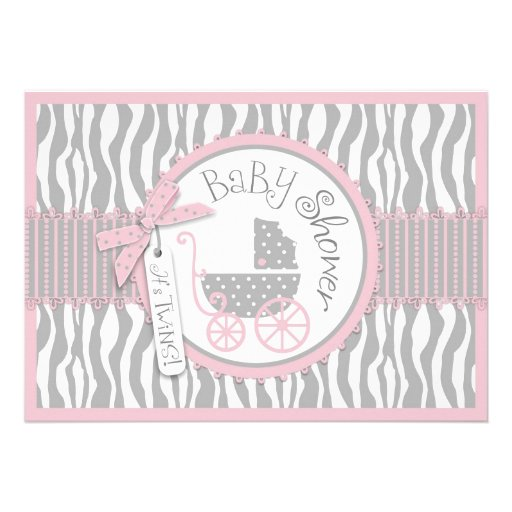 TWINS Baby Carriage, Zebra Print, Pink Baby Shower Invitations