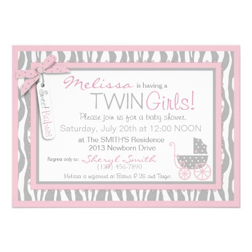 TWINS Baby Carriage, Zebra Print, Pink Baby Shower Custom Announcement