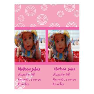 twins baby girls announcement photocard postcard