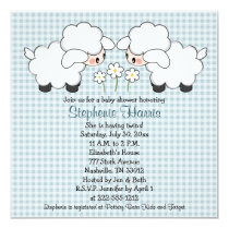 Twins Baby Lambs Baby Shower Invitations Boys