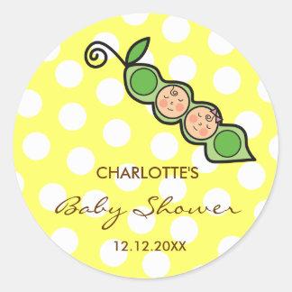Twins Baby Peas in Pod Baby Shower Label / Sticker