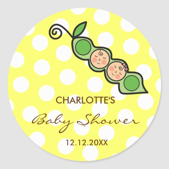 Twins Baby Peas in Pod Baby Shower Label / Sticker