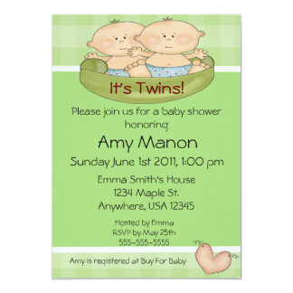 Twins baby shower card